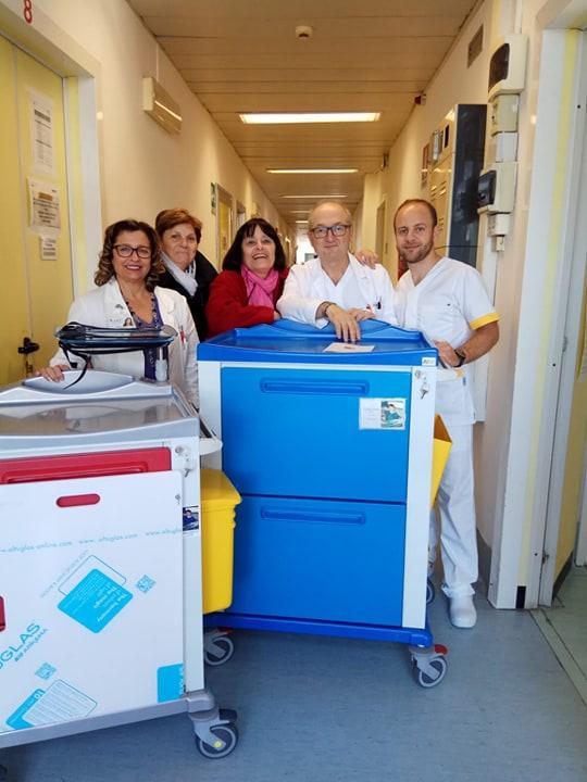 Mamma di Daniele, Maria Pia Valeri, Franca Corrado e Giovanni Venditti coordinatore infermieristico Neurologia (25/11/19)